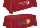 red table covers with logo company