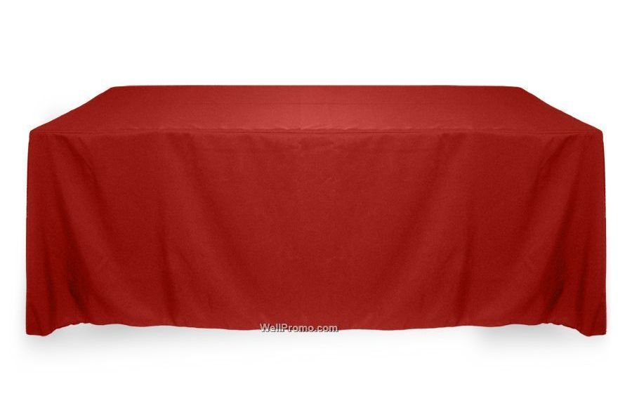 red trade show table cover with logo