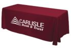 red tradeshow table covers with logo