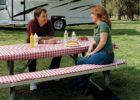 red white picnic table covers and pads bench