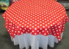 red white round polka dot table covers