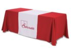 red white trade show fitted table covers