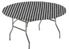 round black and white checkered tablecloth