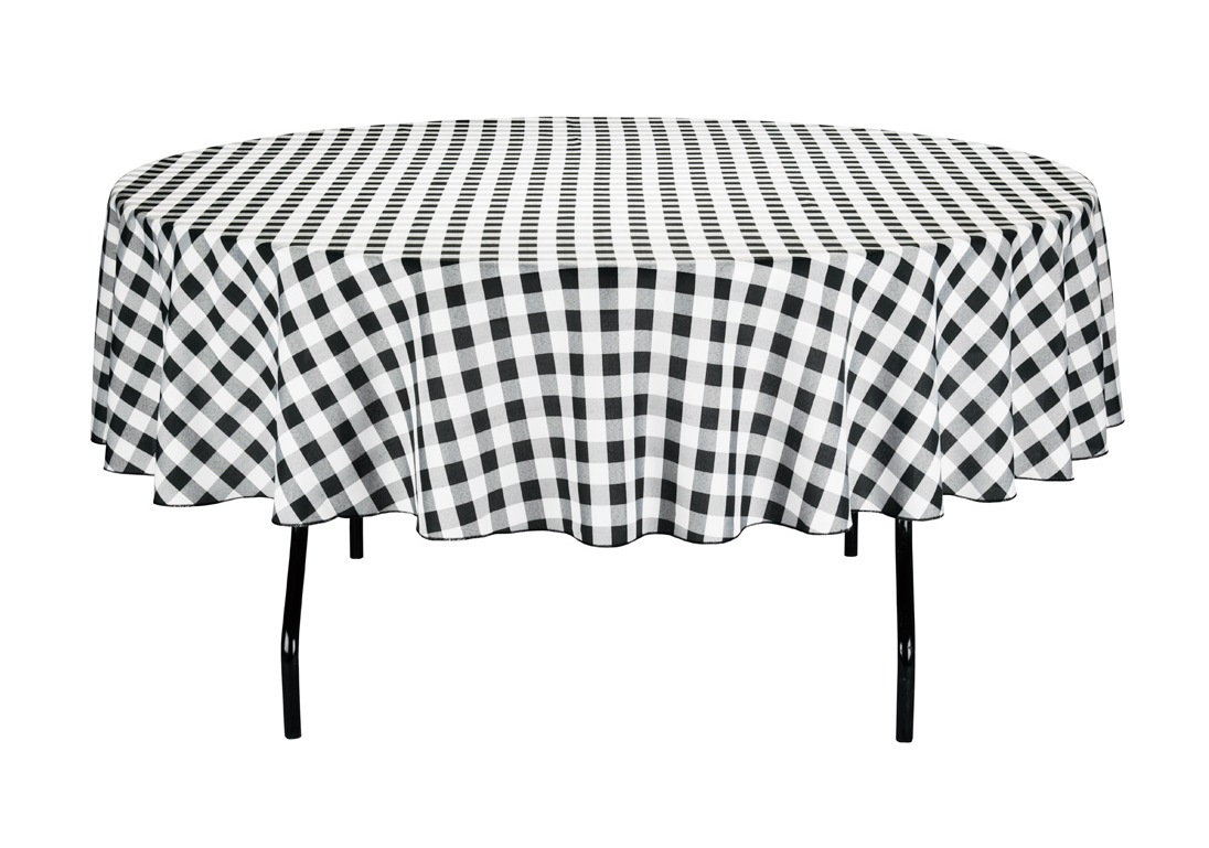 round black and white checkered tablecloth plastic