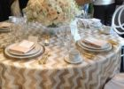 round silver chevron table cover