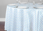 round teal blue chevron table cover