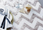 silver chevron table cover