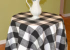 small round black and white checkered tablecloth fabric