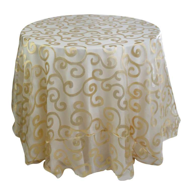 small round gold overlay tablecloth
