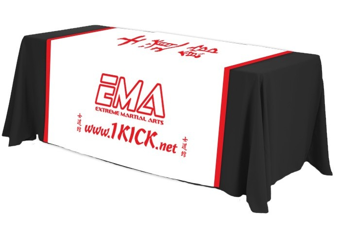 spandex black table cover with logo