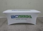 white fitted trade show fitted table covers
