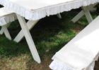 white picnic table covers and pads bench with skirt