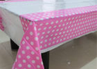 white pink polka dot table covers plastic