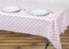 white polka dot table covers plastic