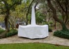 white rectangular patio table cover with umbrella hole