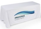 white tradeshow table cover with logo toronto