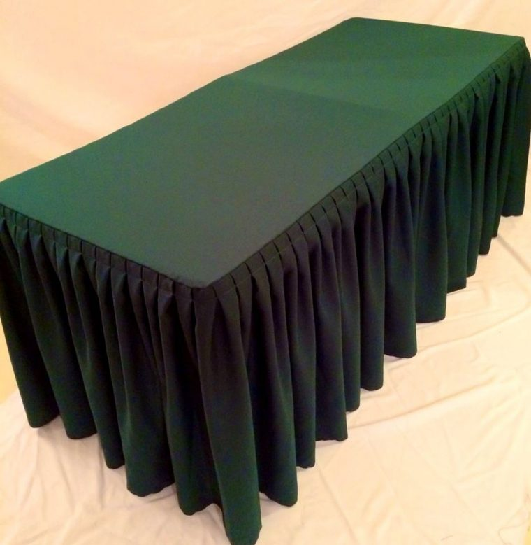 black pleated table covers for wedding