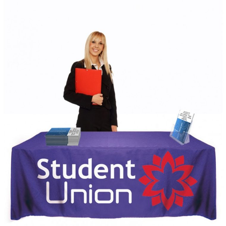 blue custom display table covers for campus