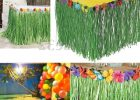 decor grass skirt table cover for birthday party