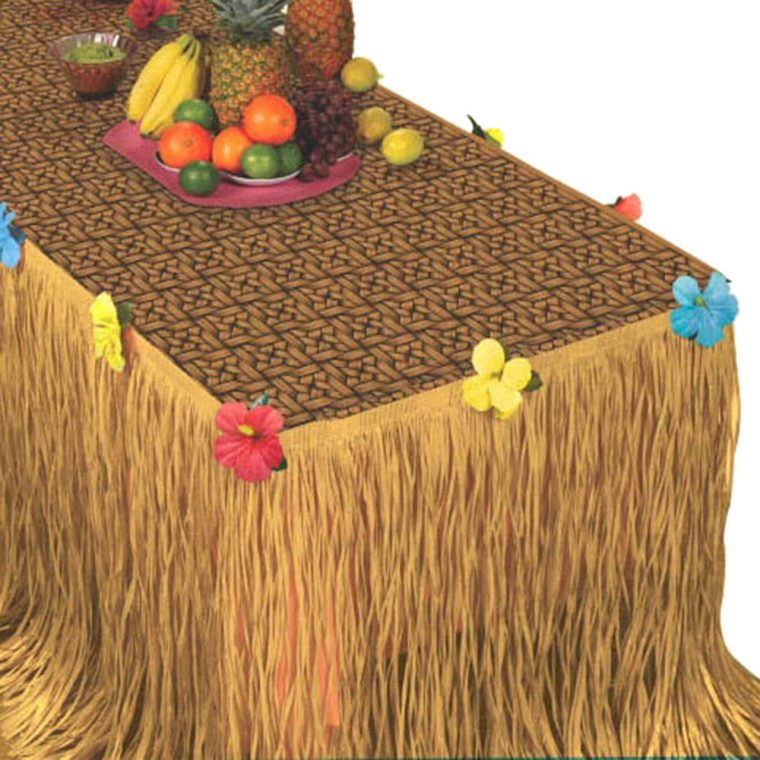 grass skirt table cover for outdoor party
