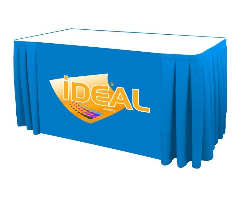 pleated table covers with logo