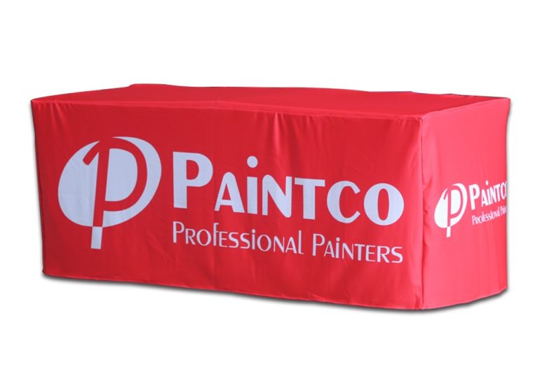 red custom display table covers