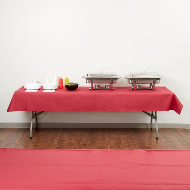 red linen cloth like table covers