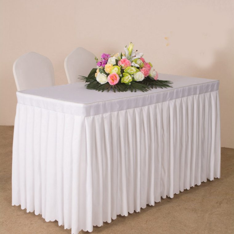white pleated table covers