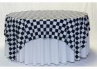Black And White Checkered Table Cover Tablecloth Round