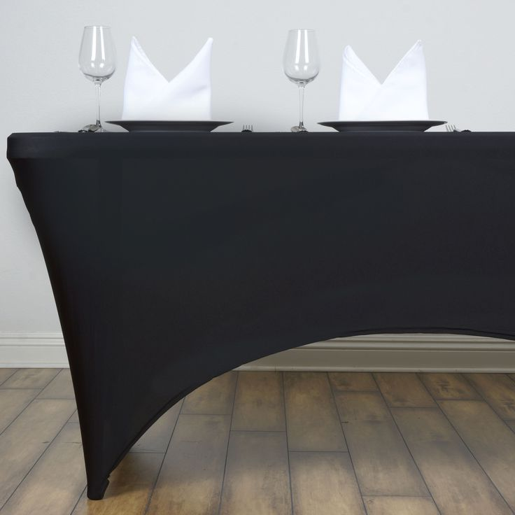 Black Fitted Rectangular Vinyl Table Covers for Banquet Table