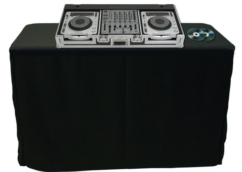 Black Fitted Rectangular Vinyl Table Covers for DJ Table