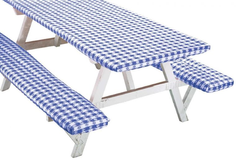 Blue Fitted Vinyl Picnic Table Covers