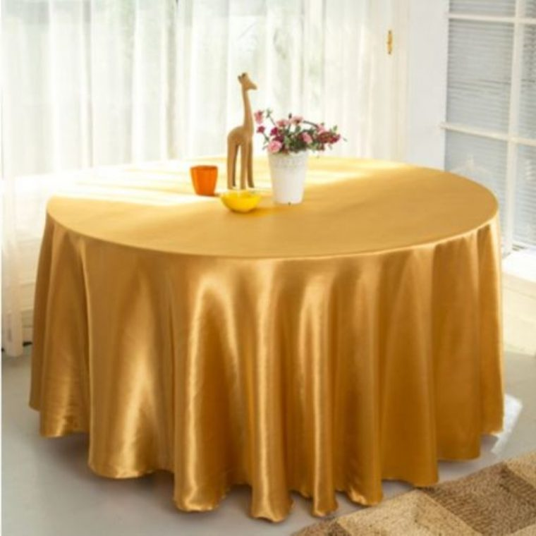 Brown Plastic Table Covers Gold Round