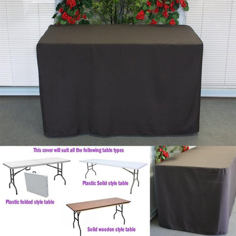 Fitted Folding Table Covers Black Rectangular Designs