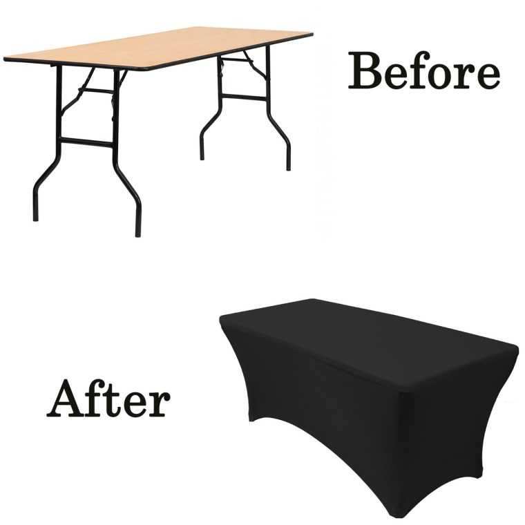 Fitted Folding Table Covers Black for Folding Table