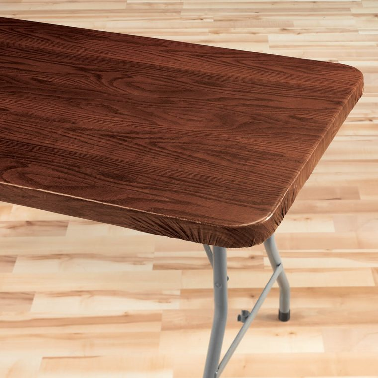 Fitted Vinyl Table Covers Rectangle Solid Wood Pattern