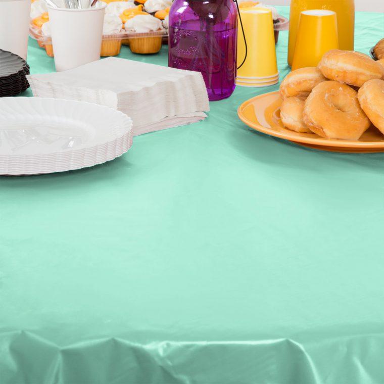 Mint Green Plastic Table Cover Tablecloth Linen Hire