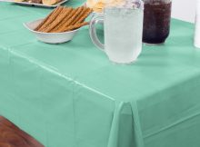 Mint Green Plastic Table Cover Tablecloth Linen UK