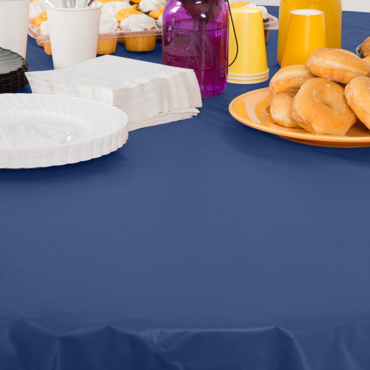 Navy Plastic Table Covers Round Dining Table