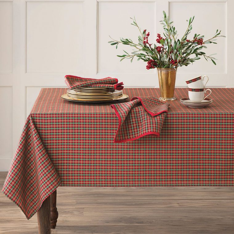 Oval Christmas Tablecloths-Joyful Plaid Tablecloth-holiday vinyl tablecloths