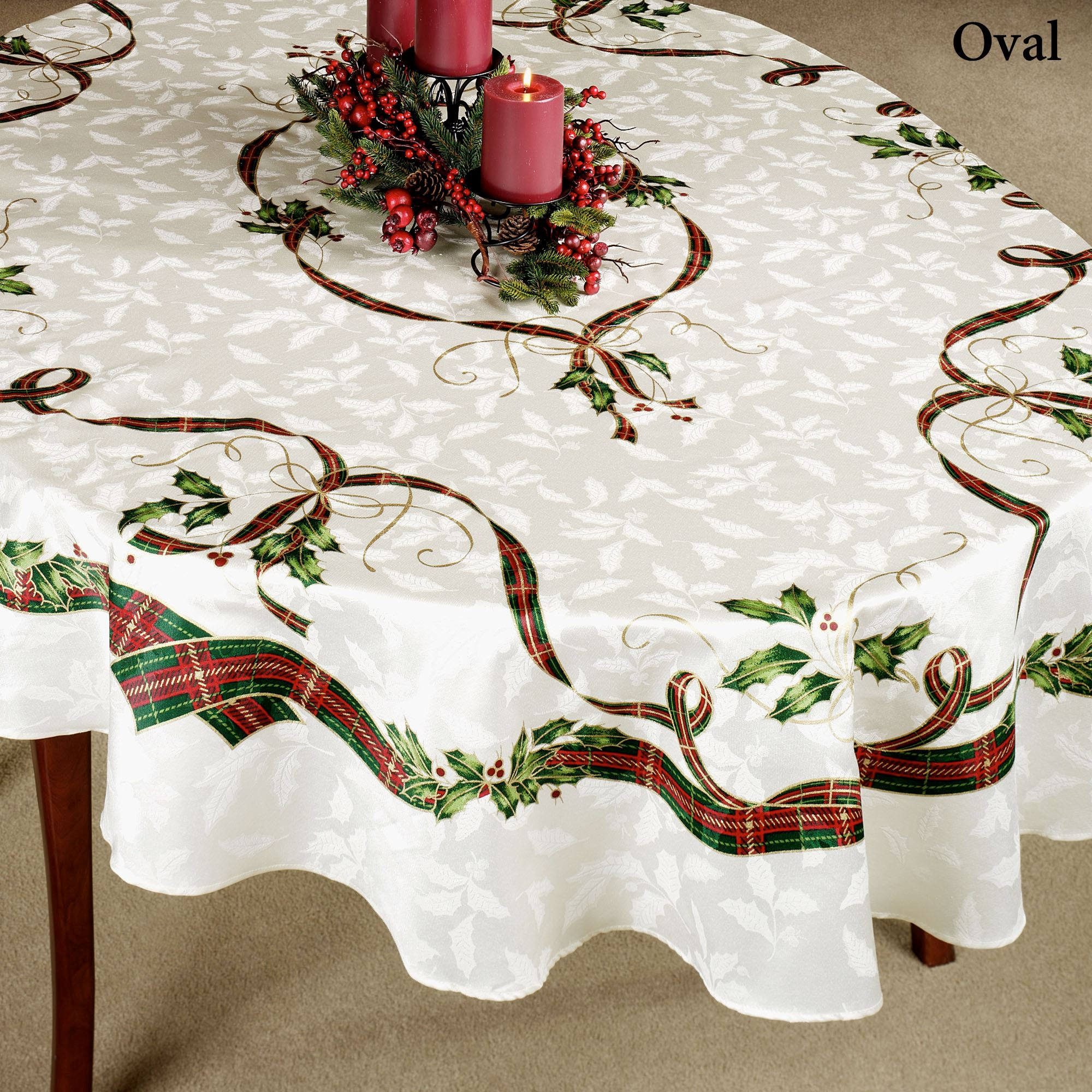 Oval Christmas Tablecloths White Oval Linen Tablecloth Christmas