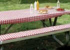 Red Fitted Vinyl Picnic Table Covers for Outdoor