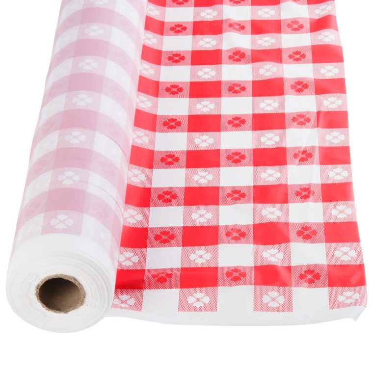 Rolls Of Plastic Table Covers For Banquet Tables Red Checkered