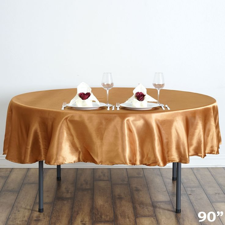 Round Plastic Table Covers With Elastic Gold Linen