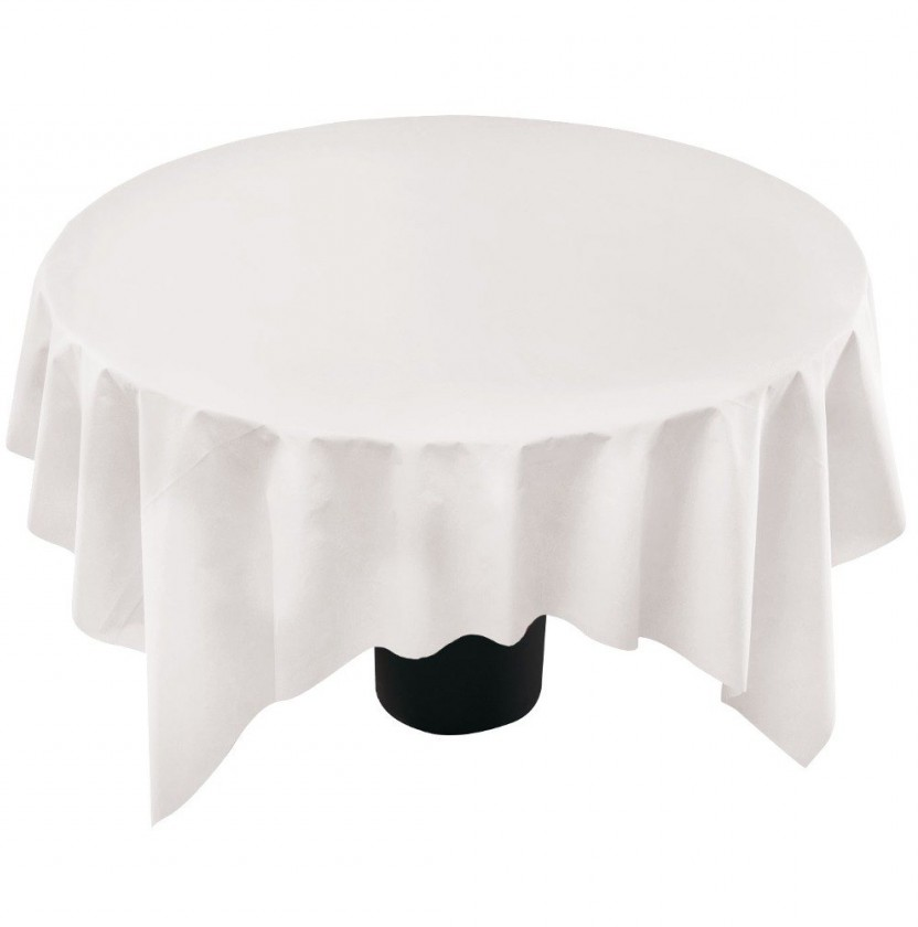 Round Plastic Table Covers With Elastic White Edges Table Covers Depot