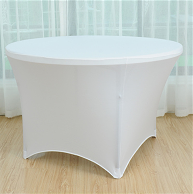 Round Plastic Table Covers With Elastic White Spandex