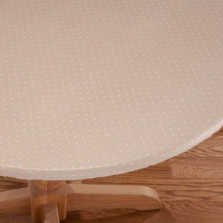 White Fitted Vinyl Table Covers Round