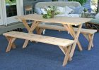 Wood Pattern Fitted Vinyl Picnic Table Covers with Bench