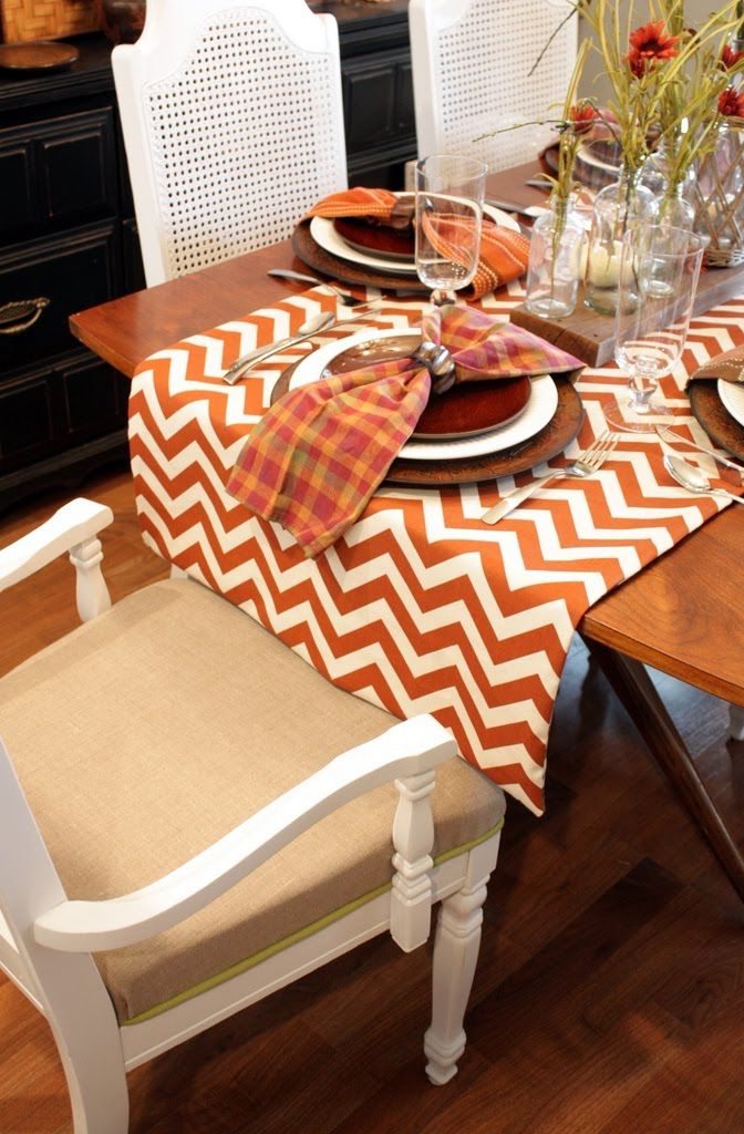 fall table runners-funky-chevron-table-runner-fall themed table runners