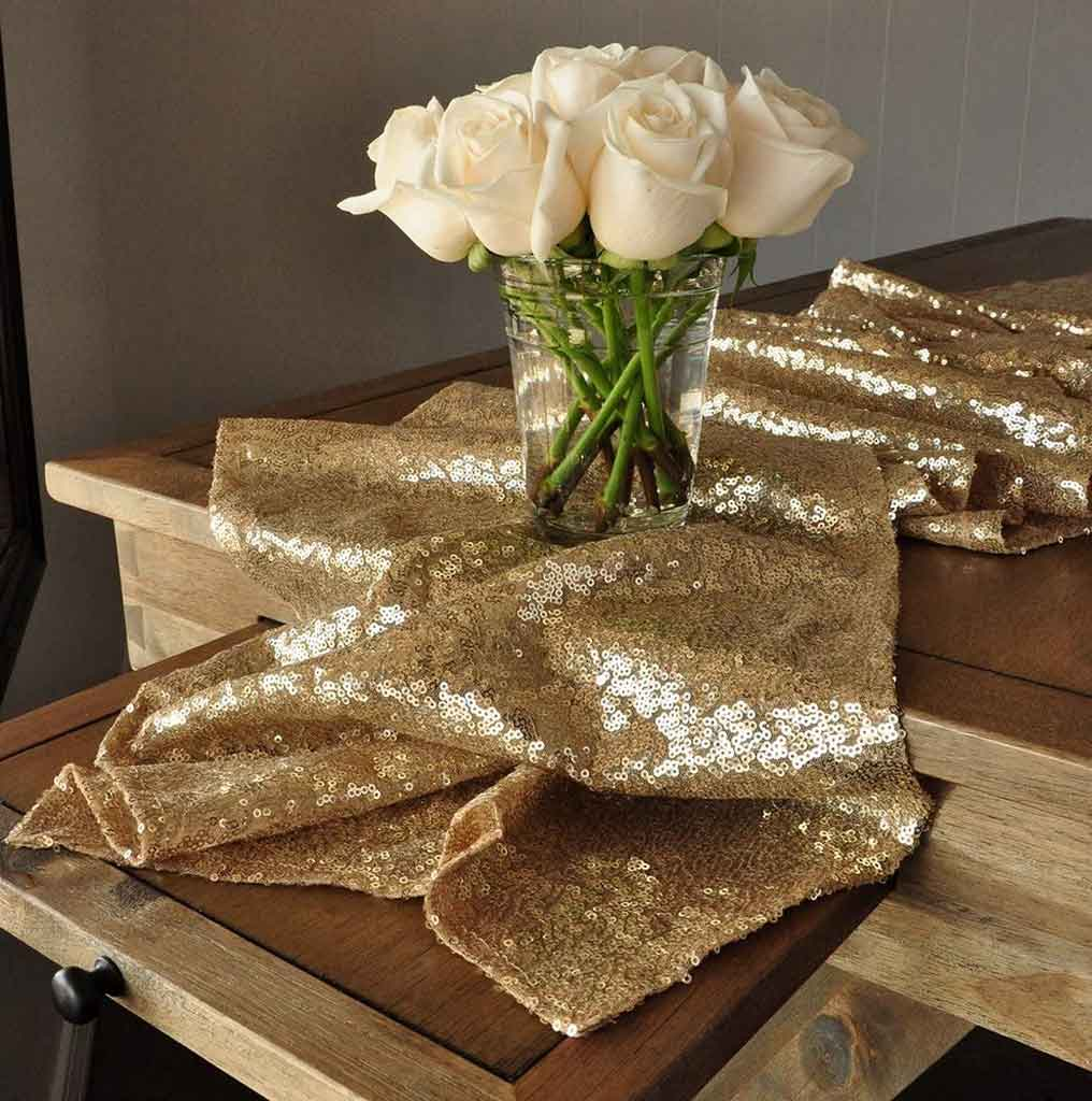 Best 5 Recommended Gold Wedding Table Runner Designs to make an Elegant Looks | Table Covers Depot